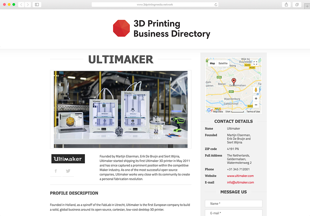 3D Printing Business Directory website mockup