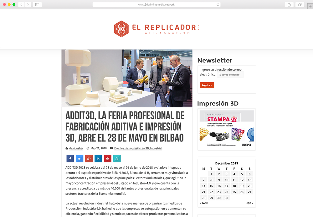 El Replicador website mockup